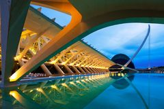 Closeup view of City of Arts and Sciences in summer night Stock Photography