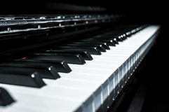 Closeup view of classical piano keys with modern black and white style Stock Images