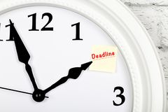 Closeup view of clock indicator showing the reminder paper stock photo