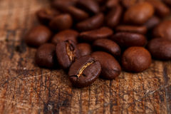 Closeup view of coffee beans Royalty Free Stock Photos