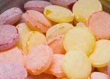 Closeup view of colorful round hard candies. Horizontal color photography royalty free stock photos