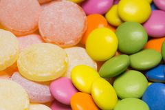 Closeup view of colorful round hard candies. Horizontal color photography Stock Photography