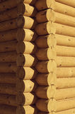 Closeup view corner of wooden house made natural logs Royalty Free Stock Photo