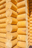 Closeup view of corner of wooden house made of natural logs Royalty Free Stock Photo