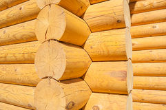 Closeup view of corner of wooden house made of natural logs Stock Images