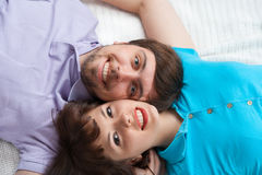 Closeup view of couple in bed Royalty Free Stock Image