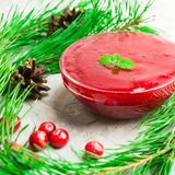 Closeup view of cranberry sauce with mint with fir tree decorati. On over grey background, square shot Royalty Free Stock Photos
