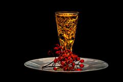 Closeup view of a cut-glass of brandy Royalty Free Stock Photos