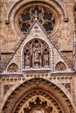 A closeup view of the decorative elements of a cathedral. A close up view of the decorative elements of a cathedral in Zagreb, Croatia stock photo
