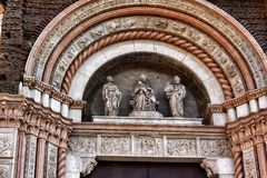 Details of a cathedral facade in Bologna, Italy royalty free stock images