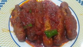 Closeup view of delicious spicy home made spicy fried, roll kebab n tomato sauce stock video footage