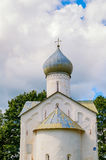 Closeup view of dome of Twelve Apostles on the Abyss church in Veliky Novgorod, Russia. Architecture landmark of Veliky Novgorod in summer cloudy day stock photo