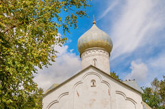 Closeup view of dome of Twelve Apostles on the Abyss church in Veliky Novgorod, Russia. Architecture landscape in summer sunny day royalty free stock image