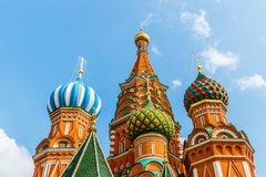 Closeup view of domes of St. Basil's cathedral Stock Images