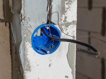 Closeup view of electrical installation socket hole royalty free stock photo