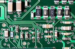 Closeup view of an electronic circuit board Stock Photo