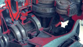 Closeup View Of Engine Gears Whell. Mechanism. Factory. Grey And Red Colours.Moving stock video