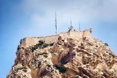 Closeup view of fortress of Santa Barbara, Alicante, Spain Royalty Free Stock Photo