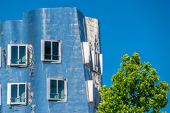 Closeup view of Frank Gehry& x27;s famous modern building at Neuer Zollhof in Dusseldorf. Stock Photos