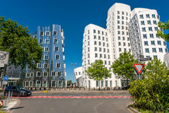 Closeup view of Frank Gehry& x27;s famous modern buildings at Neuer Zollhof in Dusseldorf. Stock Photo
