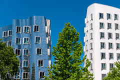 Closeup view of Frank Gehry& x27;s famous modern buildings at Neuer Zollhof in Dusseldorf. Stock Photography