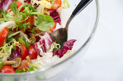 Fresh mixed salad in a glass bowl Stock Photo