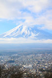 Closeup view of Fujiyama mountain in winter season Stock Images