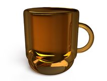 Closeup view of glossy mug. On a white background, 3D rendering Stock Image