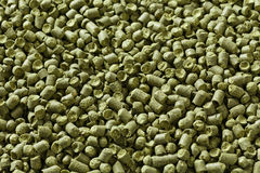 Closeup view of granule hop hopes. Ingredient for Industrial pro. Duction of beer. Background texture. Ideal for commercial. Backdrop image Stock Photos