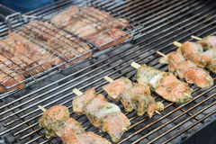 Closeup view of the grilling the spicy skewers Stock Photo