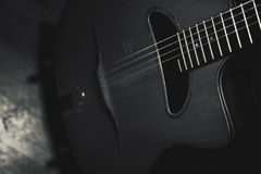 Closeup view of gypsy guitar body and neck. Royalty Free Stock Image