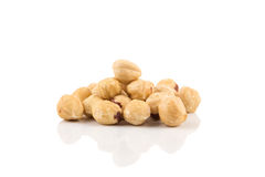 Closeup view of hazelnuts Royalty Free Stock Images