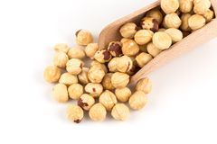 Closeup view of hazelnuts Royalty Free Stock Photos