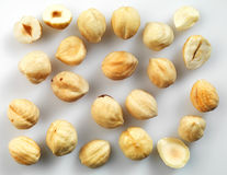 Closeup view of hazelnuts over white background Stock Image
