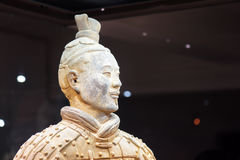 Closeup view of head of the Terracotta Army archer Stock Photos