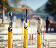 Closeup view of incense sticks at the Po Lin Monastery in Hong K Royalty Free Stock Photos