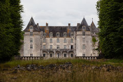 Closeup view of La Roche Courbon castle stock image