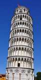A Closeup View of the Leaning Tower at Pisa. The Campanile or bell tower at Pisa. The Leaning Tower is one of the 3 major structures at the Cathedral Complex. It Stock Images