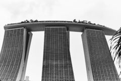 Closeup view of the Marina Bay Sands Hotel royalty free stock photo