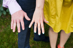 Closeup view of married couple holding hands Stock Photography