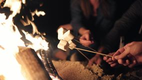 Closeup view of marshmallow on sticks being fryed by the bonfire. Group of people sitting by the fire late at night