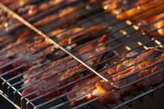 Closeup view of meat grill on hot coal barbecue. Closeup view of delicious looking meat grill on hot coal barbecue royalty free stock photography