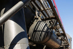 Closeup view of a mechanical equipment aroun a steam locomotive Stock Photo