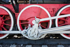 Closeup view of a mechanical equipment around a steam locomotive Royalty Free Stock Images