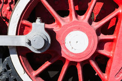 Closeup view of a mechanical equipment around a steam locomotive Stock Images