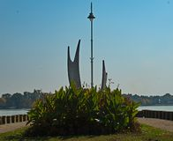 Closeup view on monument at boardwalk of Palic Lake, Serbia royalty free stock photography