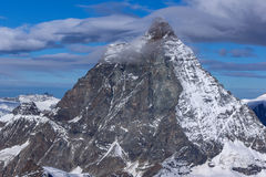 Closeup view of mount Matterhorn, Alps, Switzerland Royalty Free Stock Photos