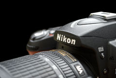 Closeup view of Nicon photocamera Royalty Free Stock Images