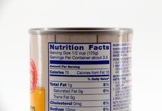 Nutrition Facts Label. Closeup view of a Nutrition Facts label Royalty Free Stock Photos