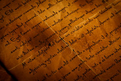 Closeup view of old letter Stock Photos